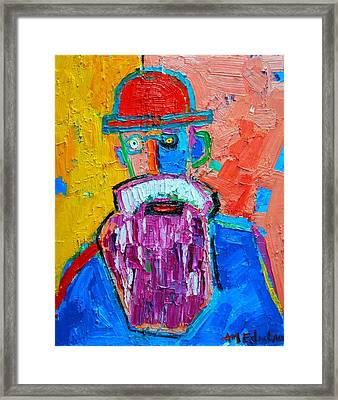 Old Man With Red Bowler Hat Framed Print by Ana Maria Edulescu