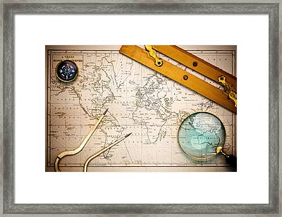 Old Map And Navigational Objects. Framed Print by Richard Thomas