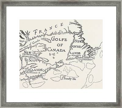 Old Map Of Acadie  Canada Framed Print
