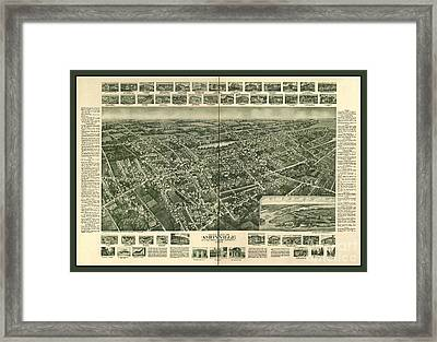 Old Map Of Amityville New York Framed Print by Pd