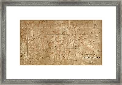 Old Map Of Arizona And New Mexico By Arthur De Witzleben - 1860 Framed Print