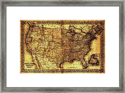 Old Map United States Framed Print