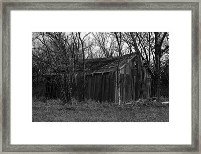 Old Maydale Barn - Black And White Framed Print