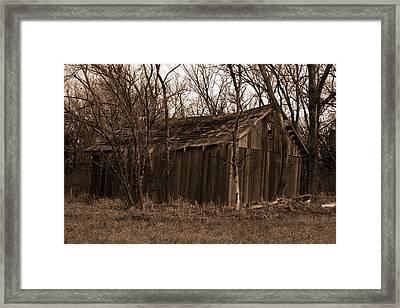 Old Maydale Barn - Sepia Tone Framed Print