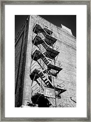 Old Metal Fire Escape On Side Of Red Brick Warehouse Building Liverpool Docks Uk Framed Print
