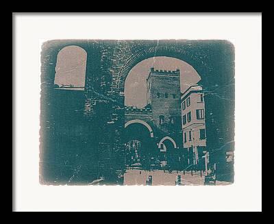 Town Square Digital Art Framed Prints
