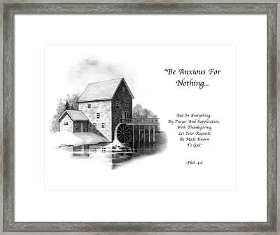 Old Mill In Pencil With Bible Verse Framed Print by Joyce Geleynse