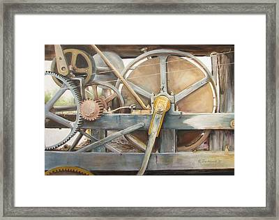 Framed Print featuring the painting Old Mine Engine by Oz Freedgood