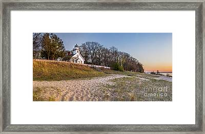 Old Mission Peninsula Lighthouse And Shore Framed Print by Twenty Two North Photography