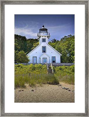 Old Mission Point Lighthouse In Grand Traverse Bay Michigan Number 2 Framed Print by Randall Nyhof