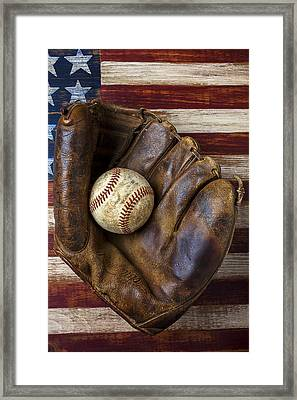 Old Mitt And Baseball Framed Print