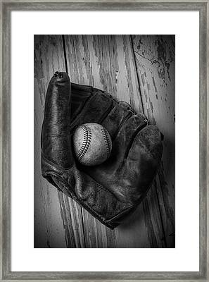 Old Mitt In Black And White Framed Print