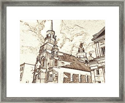 Old Montreal Chapel - Pencil Framed Print by Art America Gallery Peter Potter