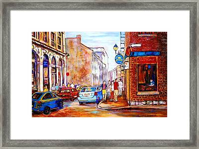 Old Montreal Paintings Calvet House And Restaurants Framed Print by Carole Spandau