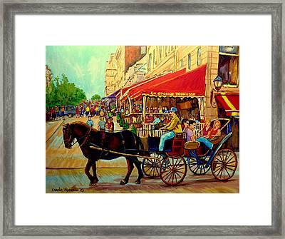 Old Montreal Restaurants Framed Print by Carole Spandau