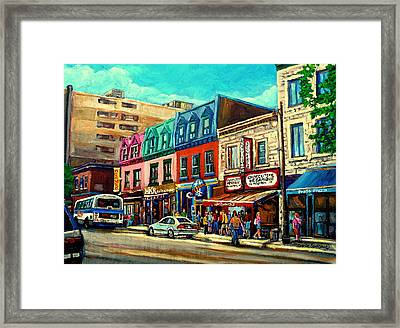 Old Montreal Schwartzs Deli Plateau Montreal City Scenes Framed Print