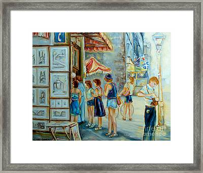 Old Montreal Street Scene Framed Print by Carole Spandau