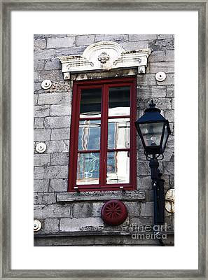 Old Montreal Window Framed Print by John Rizzuto