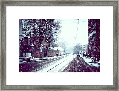Old Moscow Street. Snowy Days In Moscow Framed Print by Jenny Rainbow