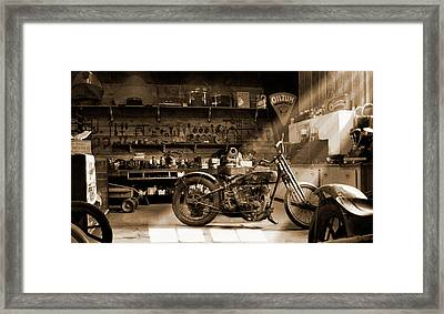 Old Motorcycle Shop Framed Print