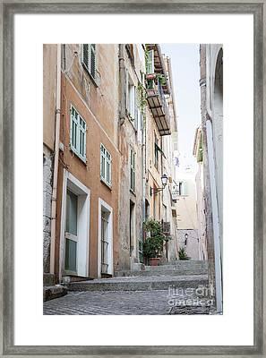Old Narrow Street In Villefranche-sur-mer Framed Print