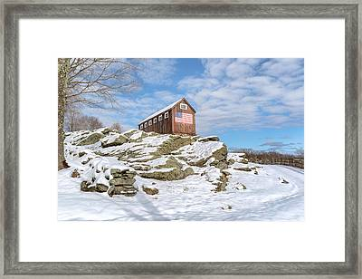 Old New England Barn In Winter Framed Print by Bill Wakeley