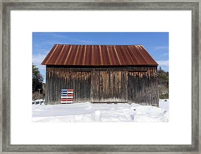 Old New England Barn With American Flag Pallet  Framed Print