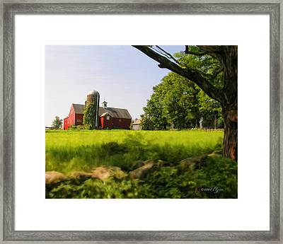 Old New England Farm Framed Print by Elzire S