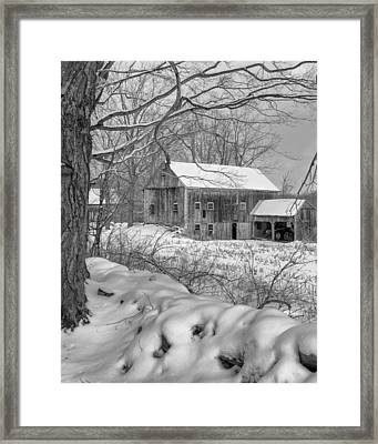 Old New England Winter 2016 Bw Framed Print