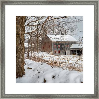 Old New England Winter 2016 Square Framed Print