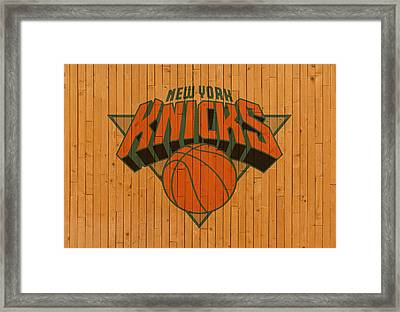 Old New York Knicks Basketball Gym Floor Framed Print