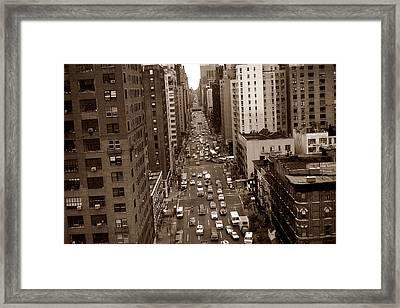 Old New York Photo - 10th Avenue Traffic Framed Print