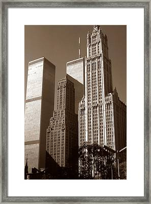 Old New York Photo - Woolworth Building And World Trade Center Framed Print