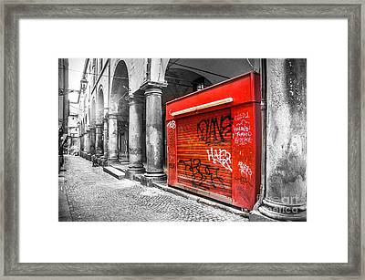 Old Newsstand Closed In Bologna Canvas - Technique Of Selective Color -  Black And White Only Red Framed Print by Luca Lorenzelli