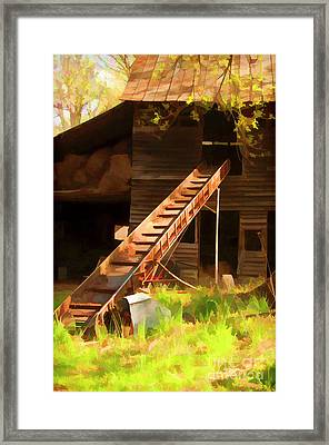 Old North Carolina Barn And Rusty Equipment   Framed Print by Wilma Birdwell