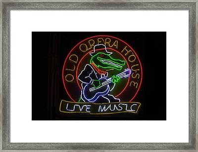 Old Opera House Neon Sign Framed Print by Garry Gay