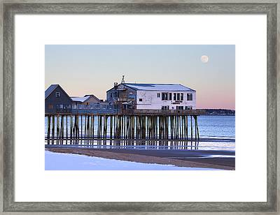 Old Orchard Beach Moonrise Framed Print by Eric Gendron