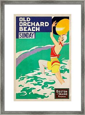 Old Orchard Beach - Vintagelized Framed Print