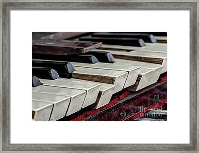 Framed Print featuring the photograph Old Organ Keys by Michal Boubin