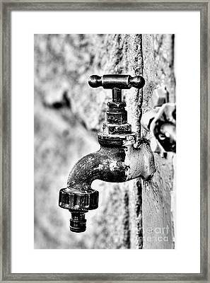 Old Outdoor Tap - Black And White Framed Print
