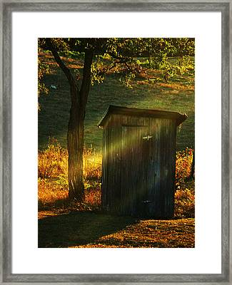 Old Outhouse At Sunset Framed Print by Joyce Kimble Smith