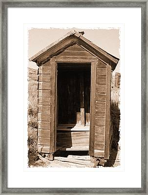 Old Outhouse In Bodie Ghost Town California Framed Print