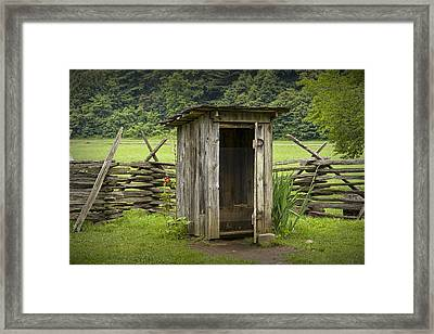 Old Outhouse On A Farm In The Smokey Mountains Framed Print