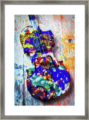 Old Painted Violin Framed Print by Garry Gay
