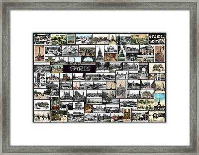 Old Paris Collage Framed Print by Janos Kovac
