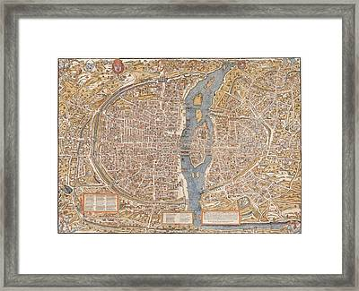 Old Paris Map Framed Print by FL collection