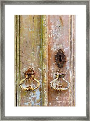 Old Peeling Door Framed Print by Carlos Caetano