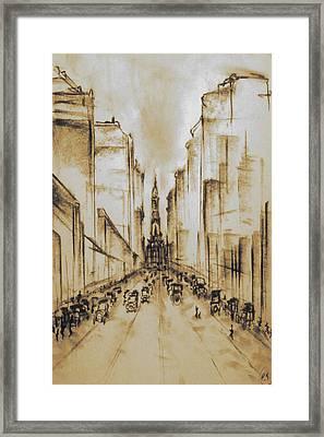 Old Philadelphia City Hall 1920 - Vintage Art Framed Print