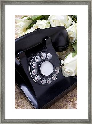 Old Phone And White Roses Framed Print by Garry Gay