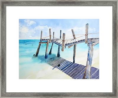 Old Pier On Playa Paraiso Framed Print